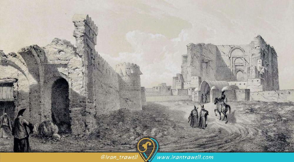نقاشی ارگ علیشاه در اواخر دوره صفوی و بعد از زلزله توسط شاردن